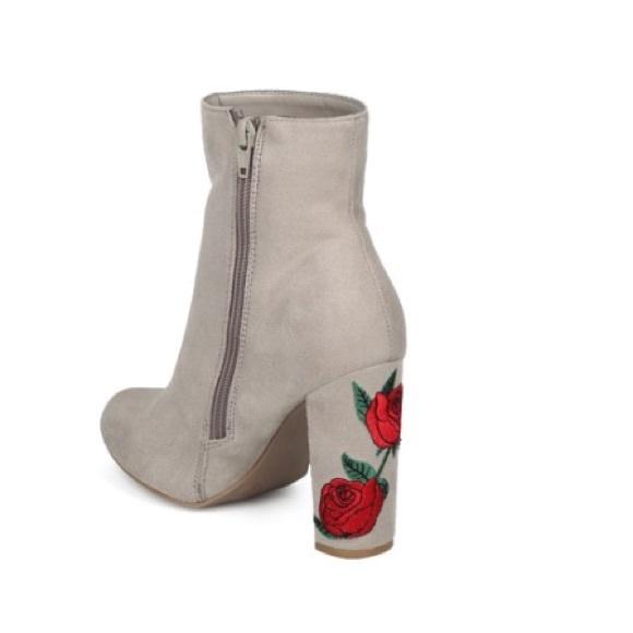c91359e88c20 Wild Diva Faux Suede Rose Embroidered Bootie. M 5b5357652beb7926998b74c2